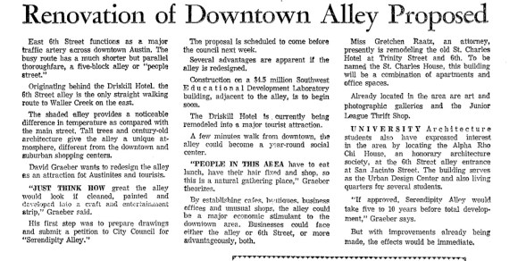 "Austin Architect, David Graeber's ""Serendipity Alley"" concept from the 1970s.  Daily Texan, September 24, 1971"