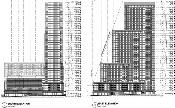 South and East Elevation Drawings for Block 1 by Solomon Cordwell Buenz (SCB)