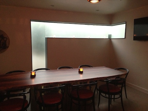 No Va has a private dining room, which is a GREAT detail / feature.  You can close the doors to this space and have a private meeting or group dinner.  There's also a flat screen TV in the room.
