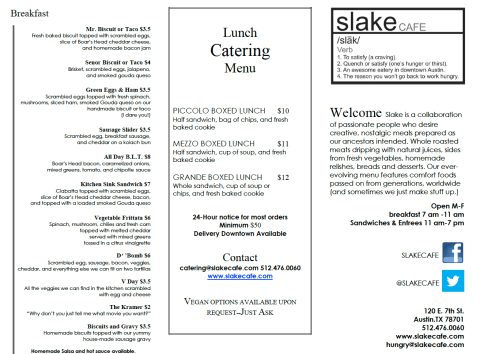 Breakfast menu.  Click to enlarge image.