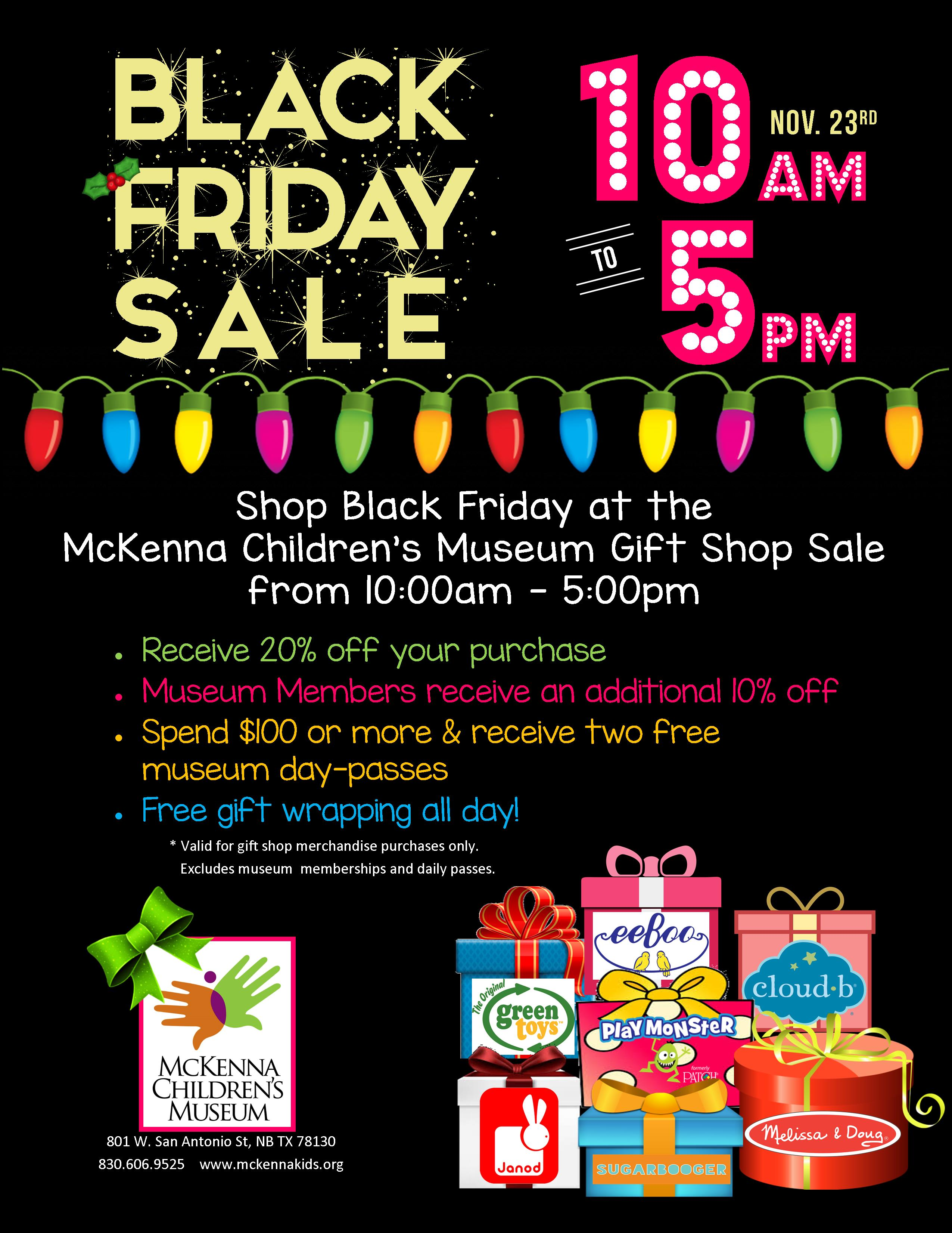 Black Friday Sale Mckenna Children S Museum Black Friday Sale New Braunfels Downtown