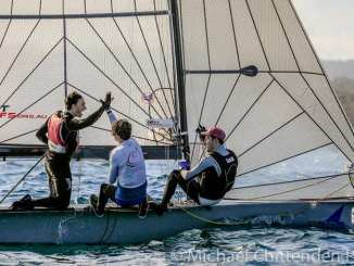Evan Darmanin and his crew on Chapman High Performance Sailing took out Saturday's point score race in the Manly 16ft skiff season.