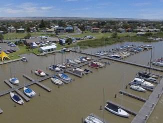 Aerial shot of the Goolwa Regatta Yacht Club.
