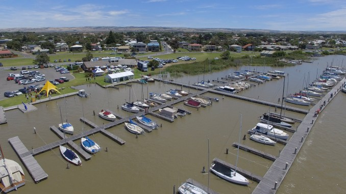 Aerial shot of the Goolwa Regatta Yacht Club.