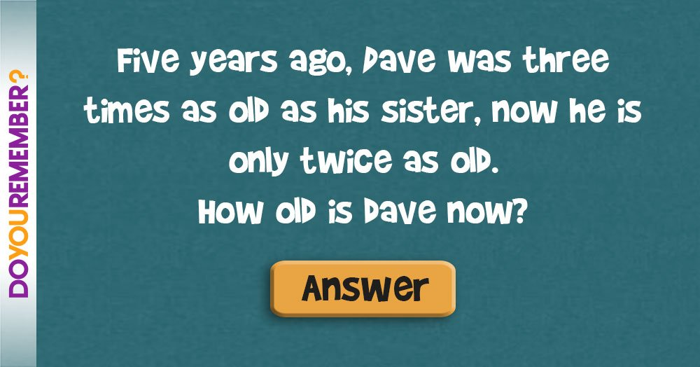 Five Years Ago, Dave was Three Times as Old as his Sister, Now he is - in five years time
