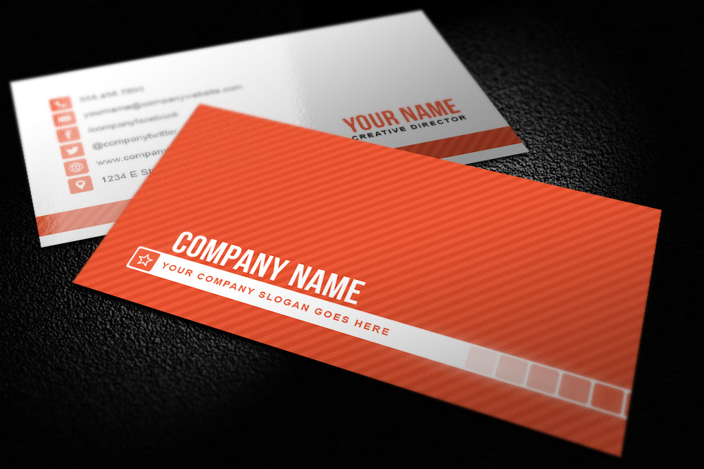 Simple Striped Business Card Template Design Panoply