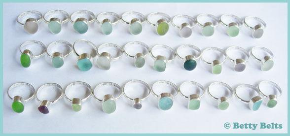 MINI Single Bezel, Single Band sea glass rings