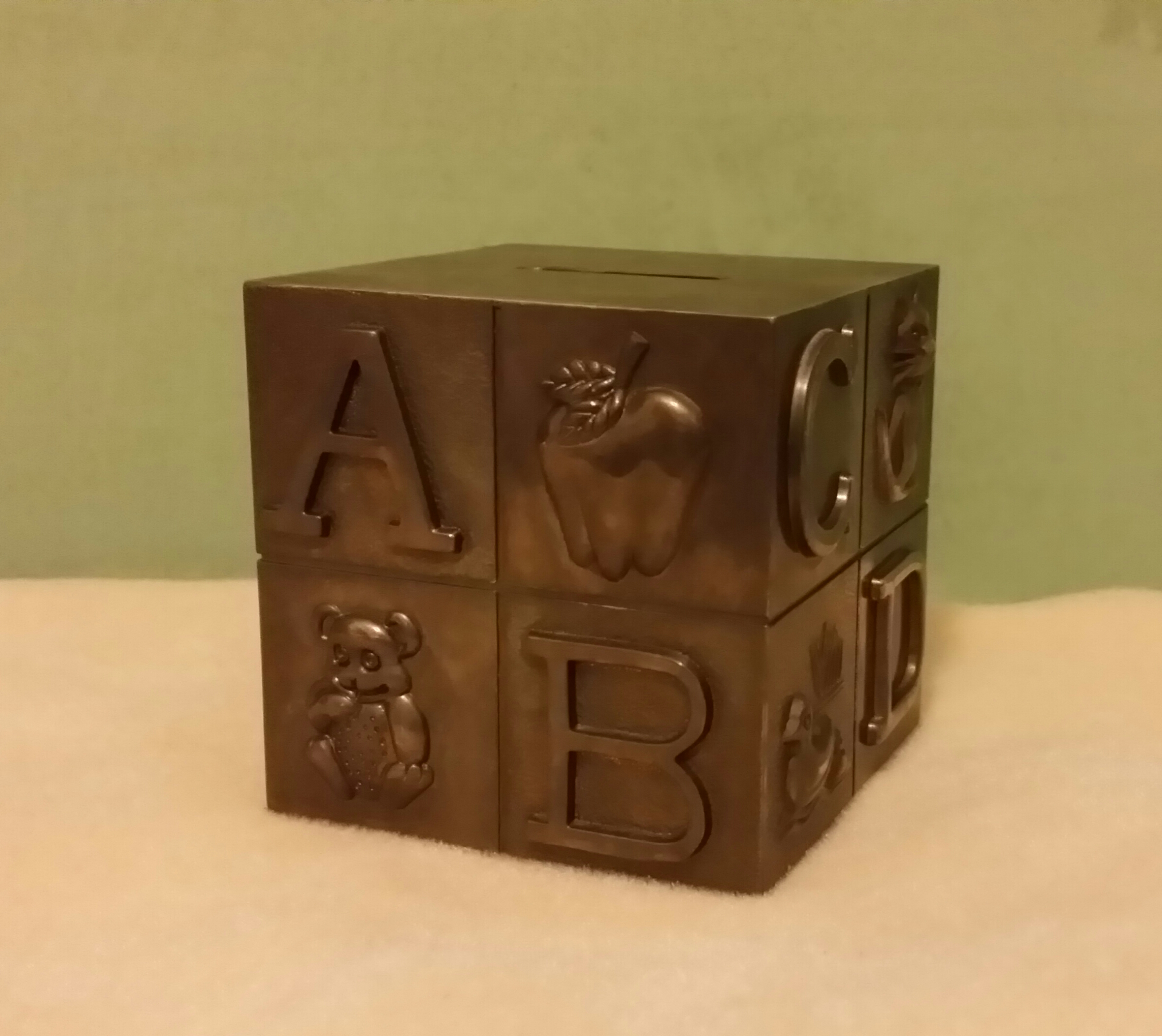 Silver Piggy Bank For Baby Vintage Baby Block Silver Plate Alphabet Animals Piggy