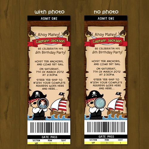 Pirate and Pirate Ship Birthday Ticket Invitation on Storenvy