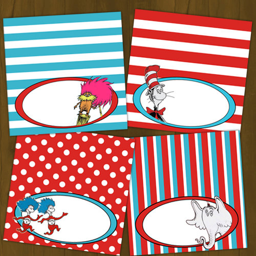 Dr Seuss Cat in the Hat Printable Food Labels on Storenvy