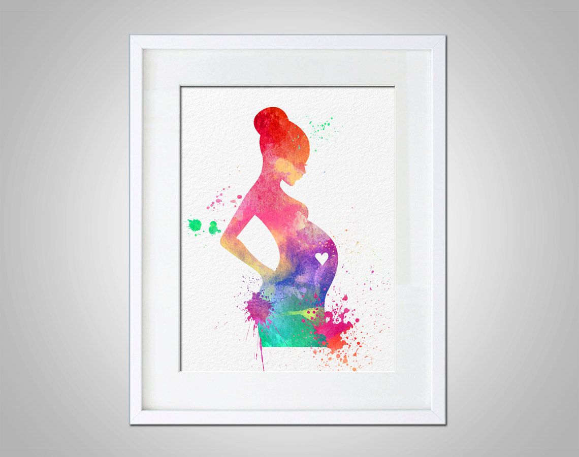 Wall Prints Watercolor Art Expectant Mother Baby Shower Gift Modern