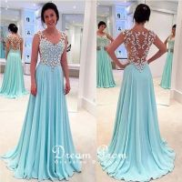 Chic Light Blue See-through Long Lace Prom Dresses,Evening ...