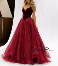 Sweetheart A-line Red Stain+tulle Long Prom Dress,Evening ...