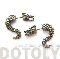 Unique Fake Gauge Dragon Animal Stud Earrings in Brass on ...