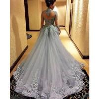 Gorgeous prom dress, long sleeve prom dress, grey prom ...