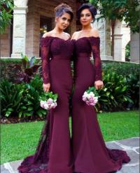 Long sleeve lace prom dress, Purple Mermaid prom dresses ...