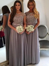 Long Grey Lace Bridesmaid dress, Cap sleeve bridesmaid ...