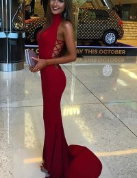 Fabulous Mermaid High Neck Long Red Prom Dress With Sweep ...