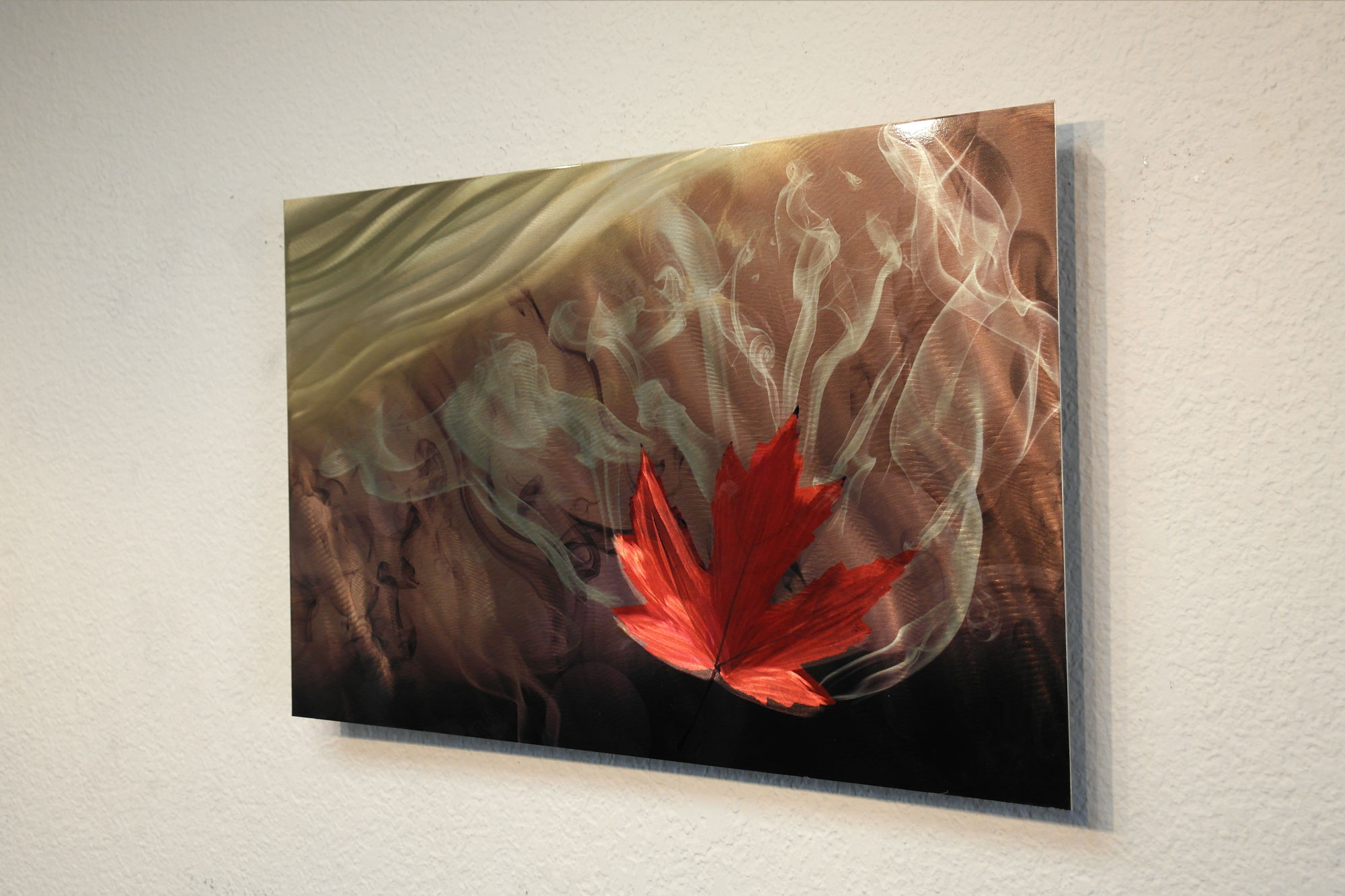 Leaf Metal Wall Art Smokey Leaf Metal Wall Art Abstract Sculpture Modern