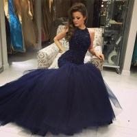 Beaded Navy Blue Mermaid Prom Dress, Formal Gown Tulle ...