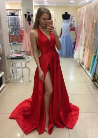Formal Dress   Stylish red prom dress,A-line V-neck with ...