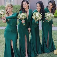 Long Sleeve Emerged Green Bridesmaid Dresses, Modest Long ...