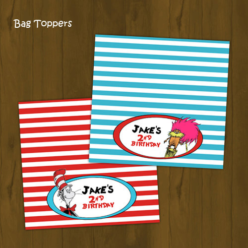 Dr Seuss Birthday Printable Bag Toppers · Splashbox Printables