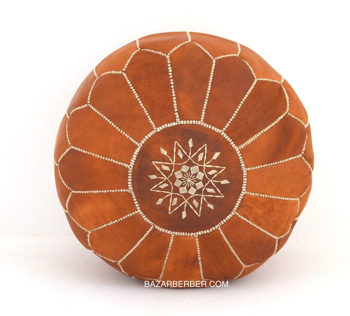 Pouf Xl Set Of 2 Xl Moroccan Poufs Designer Luxury Tan Leather Pouf Hand Stitched And Embroidered