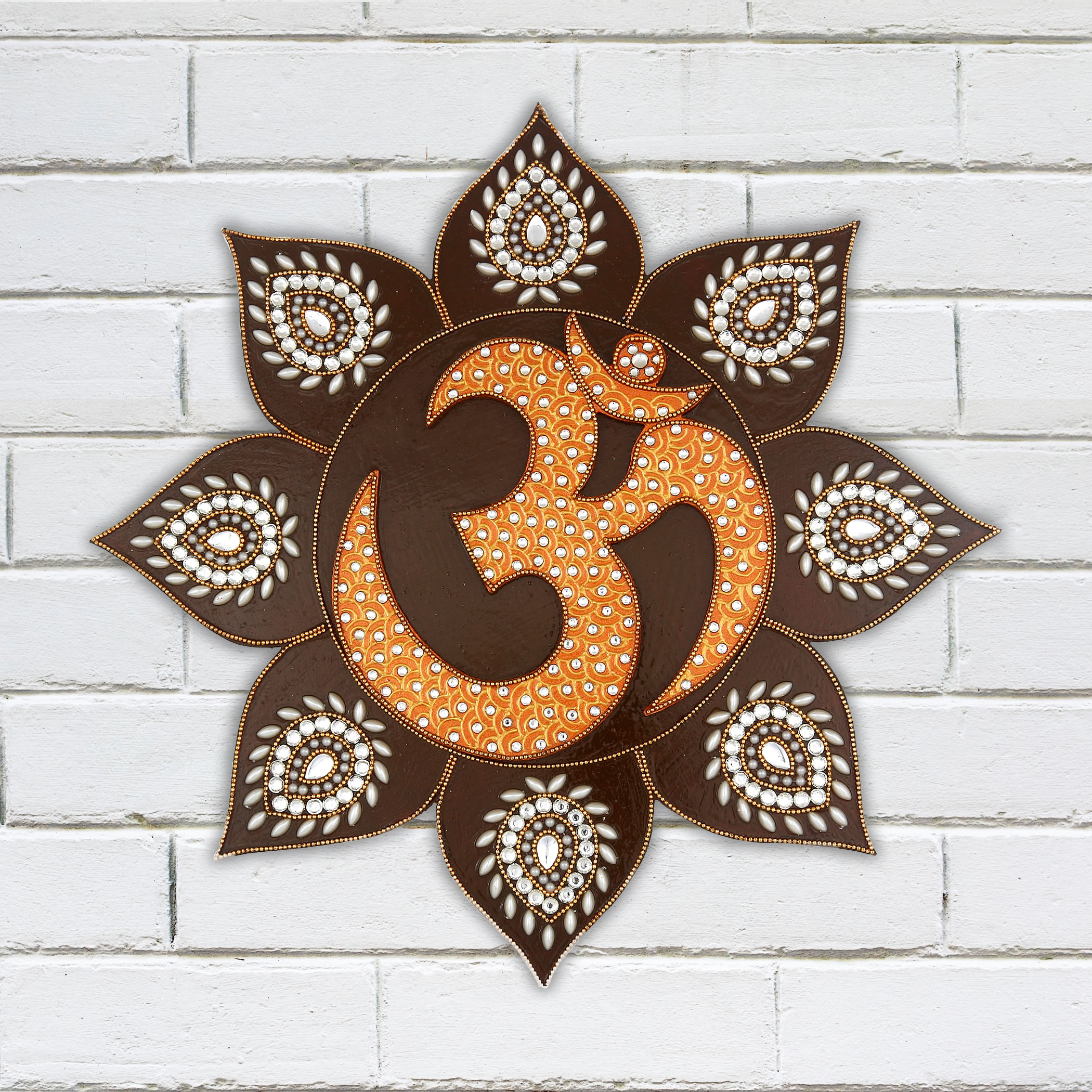 Wall Decoration Murale Yoga Room Wall Decor Mural Art Lotus Flower Om Hanging Wooden Handmade Painting