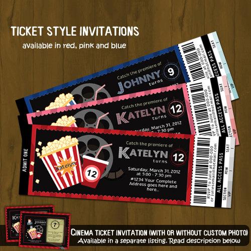 Movie Night Ticket Invitation · Splashbox Printables · Online Store - ticket invitation