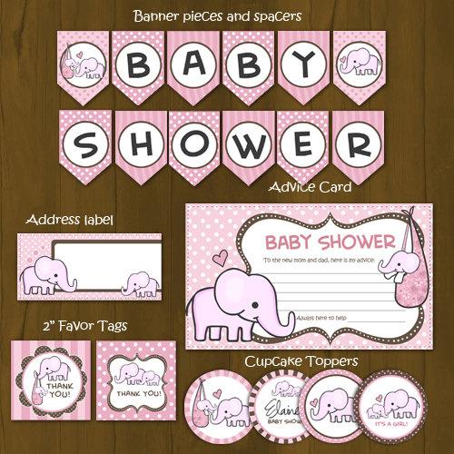 Pink Elephant Printable Baby Shower Package · Splashbox Printables