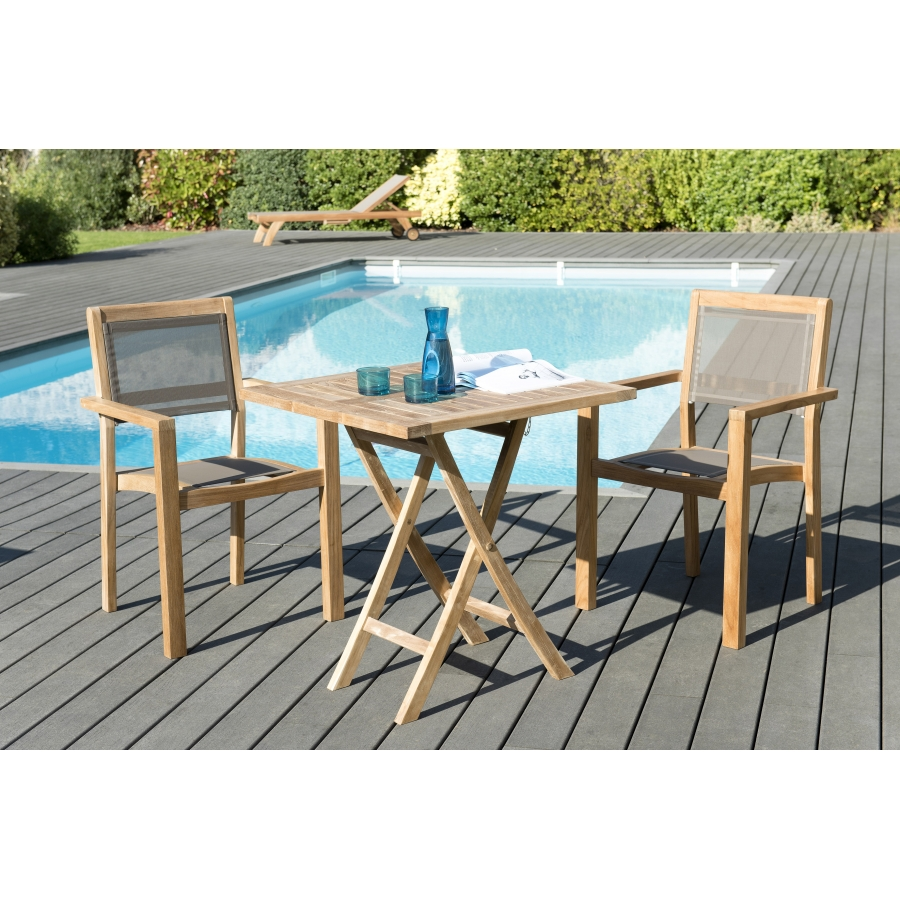 Salon De Jardin Table Carrée Salon De Jardin N147 Comprenant 1 Table Carrée Pliante 70 70cm Et