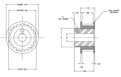 timing belt pulley cad
