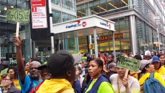 photo of protesters gathering in front of Capital One 360 Branch