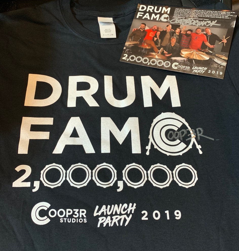 "Signed 2M ""Drum Fam"" Shirt + Signed Photo Card 020"