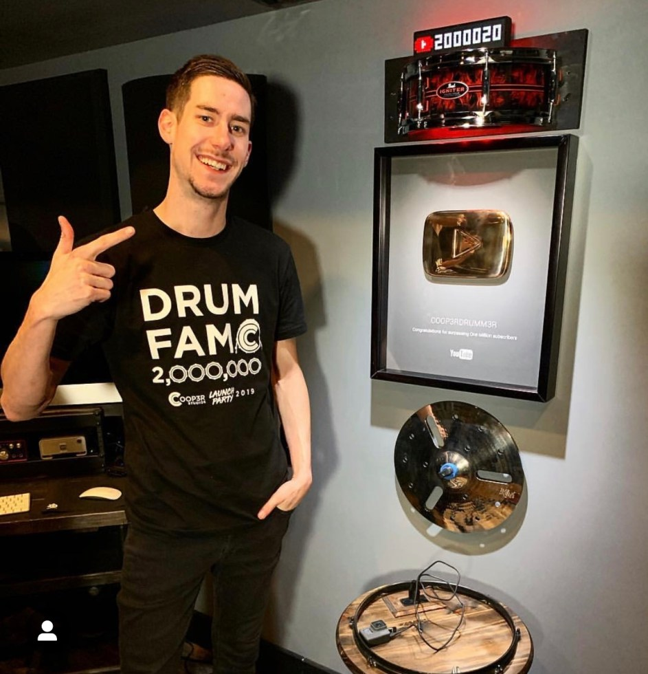 "SKYPE ""Drum Fam"" Package! - Signed Head, Sticks, Shirt, Card + Stickers and Skype Drum Lesson (ONLY 7 LEFT)"