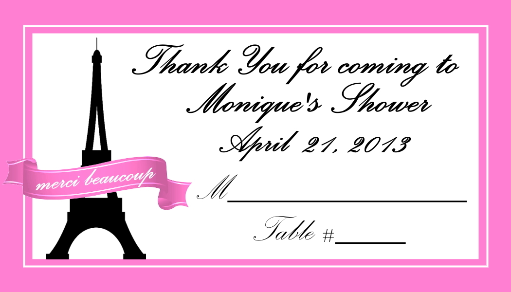 Diva Entertains Party Favors and Gifts \u2013 Paris Theme Place Cards