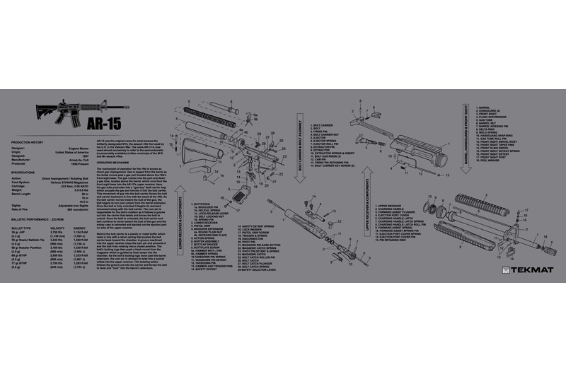 AR-15 M16 M4 Armorers Gun Cleaning Bench Mat Full Parts List View