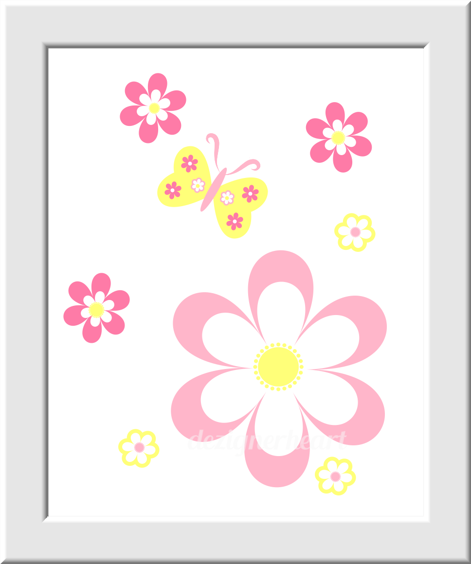 Nursery Prints Girl Yellow Baby Girl Nursery Wall Art Pink Yellow Flowers Butterfly Prints Girls Room Decor Floral Home Decor Baby Girl Nursery Prints Girls Bedroom