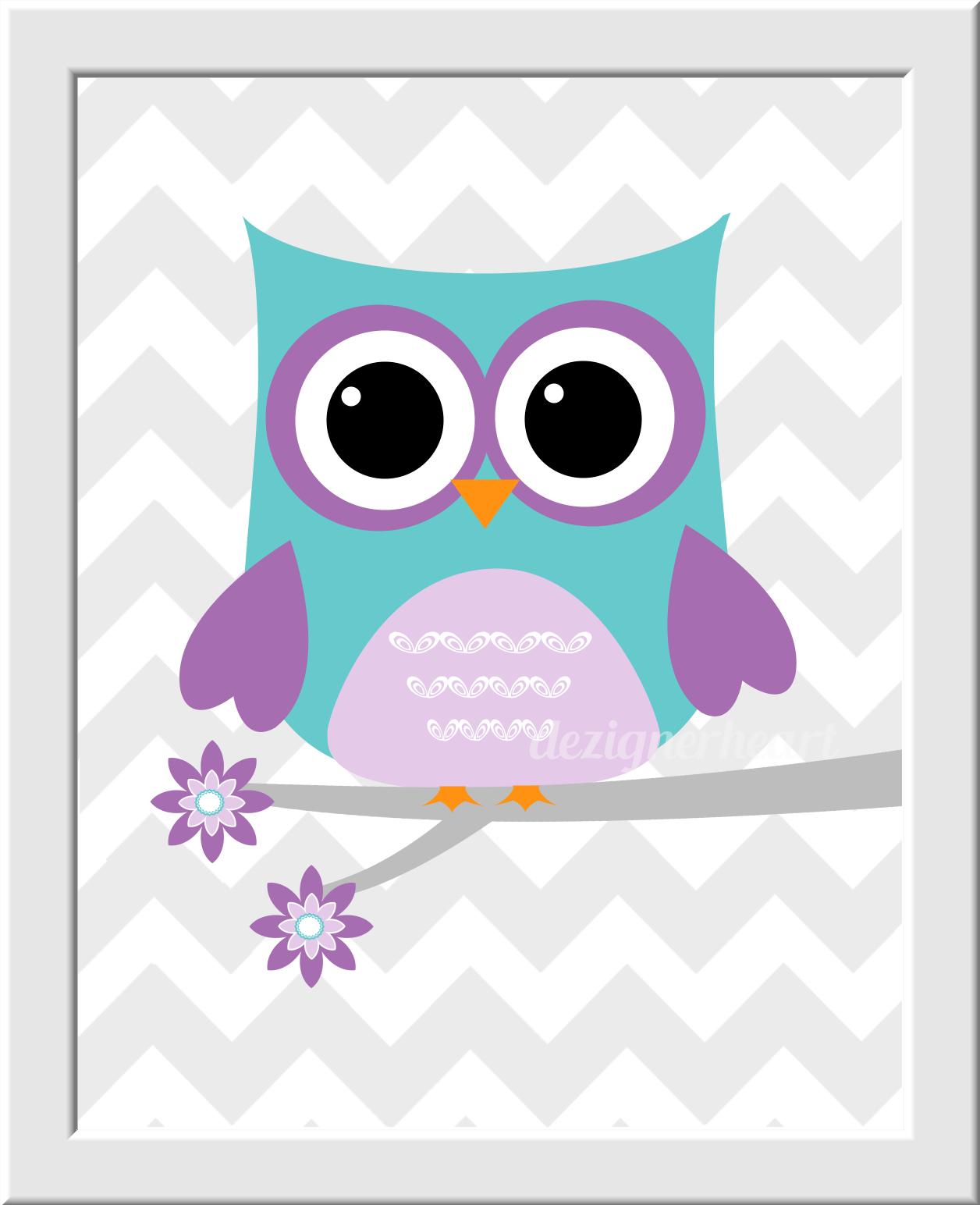 Baby Girl Nursery Wallpaper Borders Owl Baby Nursery Wall Art Lavender Teal Purple Name Love