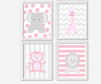 Baby GIRL Nursery Wall Art Pink Gray Elephant Giraffe Lion ...