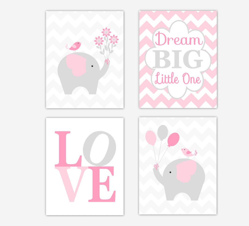 Nursery Prints Girl Elephant Baby Girl Nursery Wall Art Pink Gray Dream Big Little One Love Gray Chevron Safari Jungle Animal Prints Baby Girl Nursery Prints Girl Room