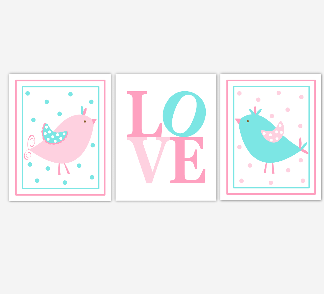 Nursery Prints Girl Pink Baby Nursery Wall Art Aqua Teal Pink Birds Love Print Baby Girl Nursery Prints Baby Nursery Decor Birds Sam Pixie Home Decor Girls Room Bird