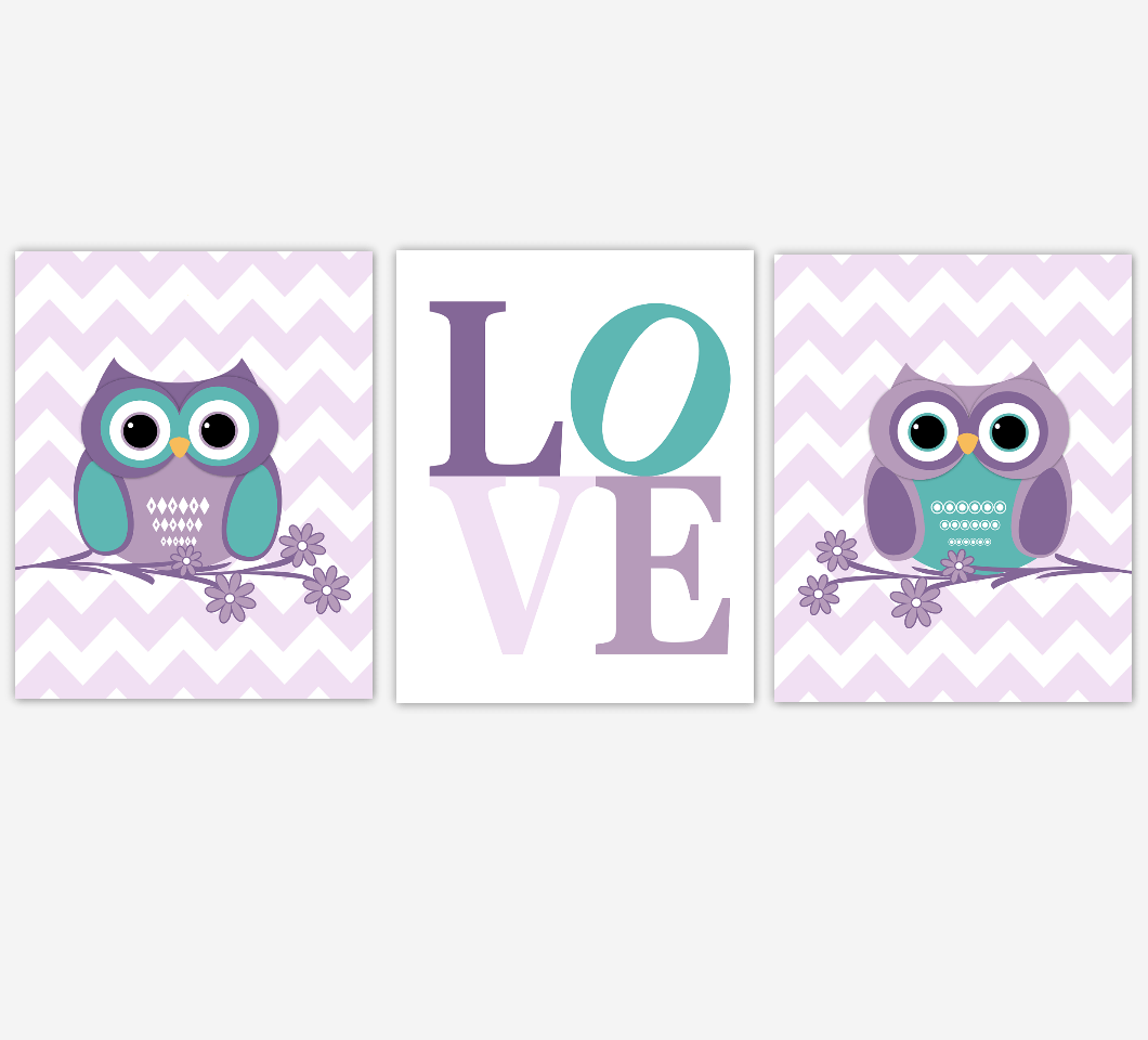 Nursery Prints Girl Purple Owl Baby Nursery Wall Art Lavender Teal Gray Owls Love Baby Girl Owl Nursery Prints Baby Girl Nursery Decor Home Decor Chevron Flowers Girls