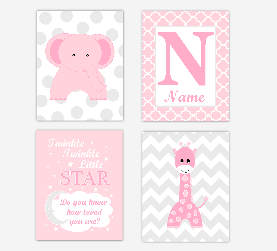 Nursery Prints Girl Pink Elephant Giraffe Baby Girl Nursery Wall Art Prints Safari Personalized Baby Nursery Decor Twinkle Little Star