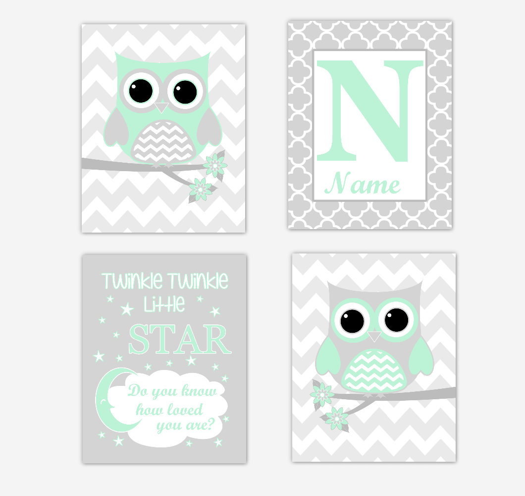 Nursery Prints Girl Mint Green Owls Baby Girl Nursery Wall Art Prints Personalized Baby Nursery Decor Twinkle Little Star