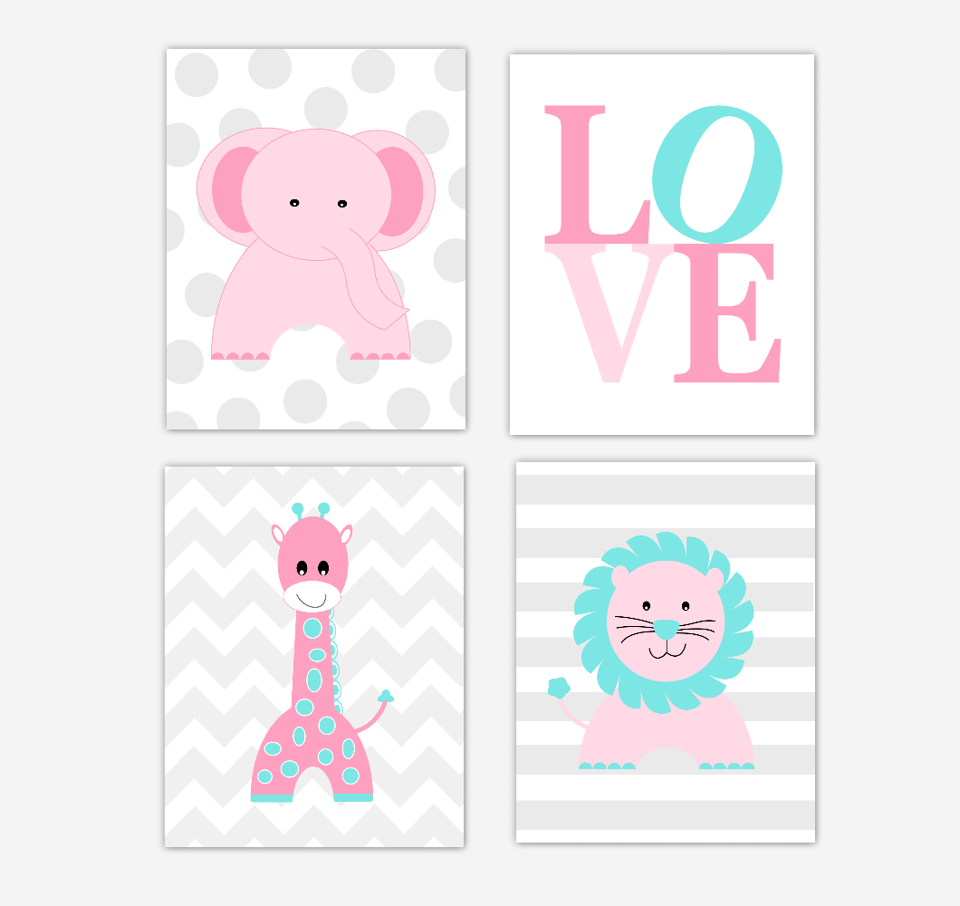 Nursery Prints Girl Pink Baby Girl Nursery Wall Art Prints Elephant Giraffe Lion Safari Animals Teal Aqua Baby Nursery Decor Love