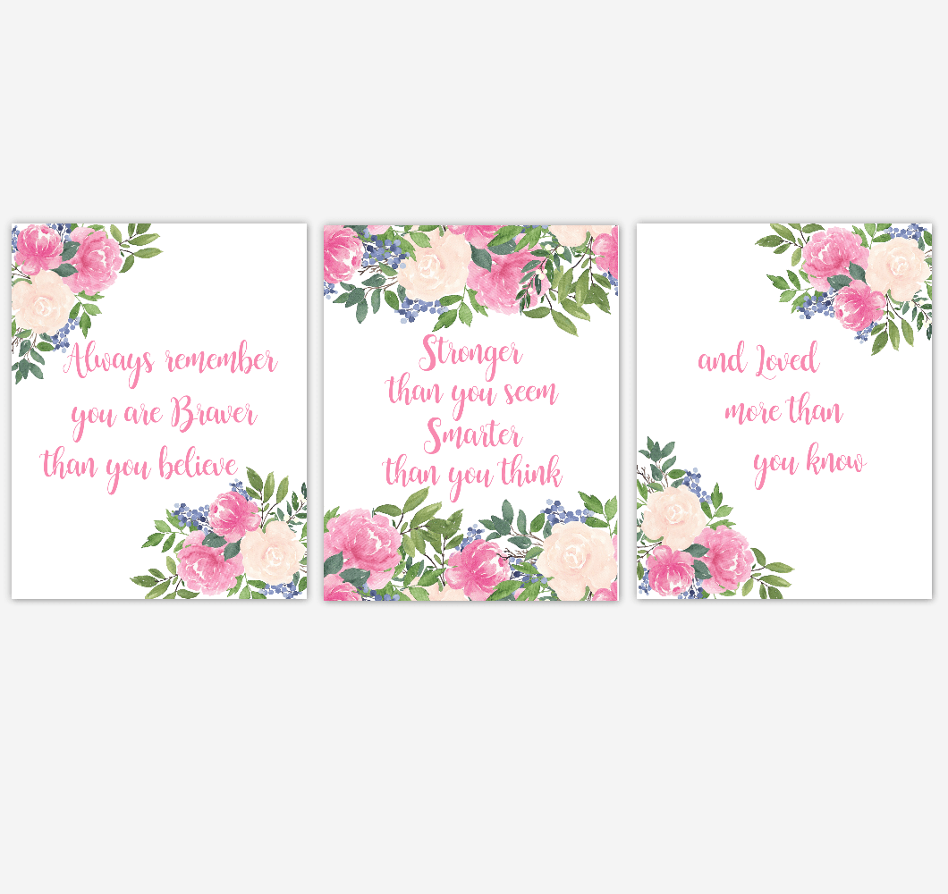 Nursery Prints Girl Pink Floral Watercolor Flower Wall Art Baby Girl Nursery Pinwatercolor Flower Wall Art Baby Girl Nursery Pink Floral Wall Art Prints Home Decor Set Of