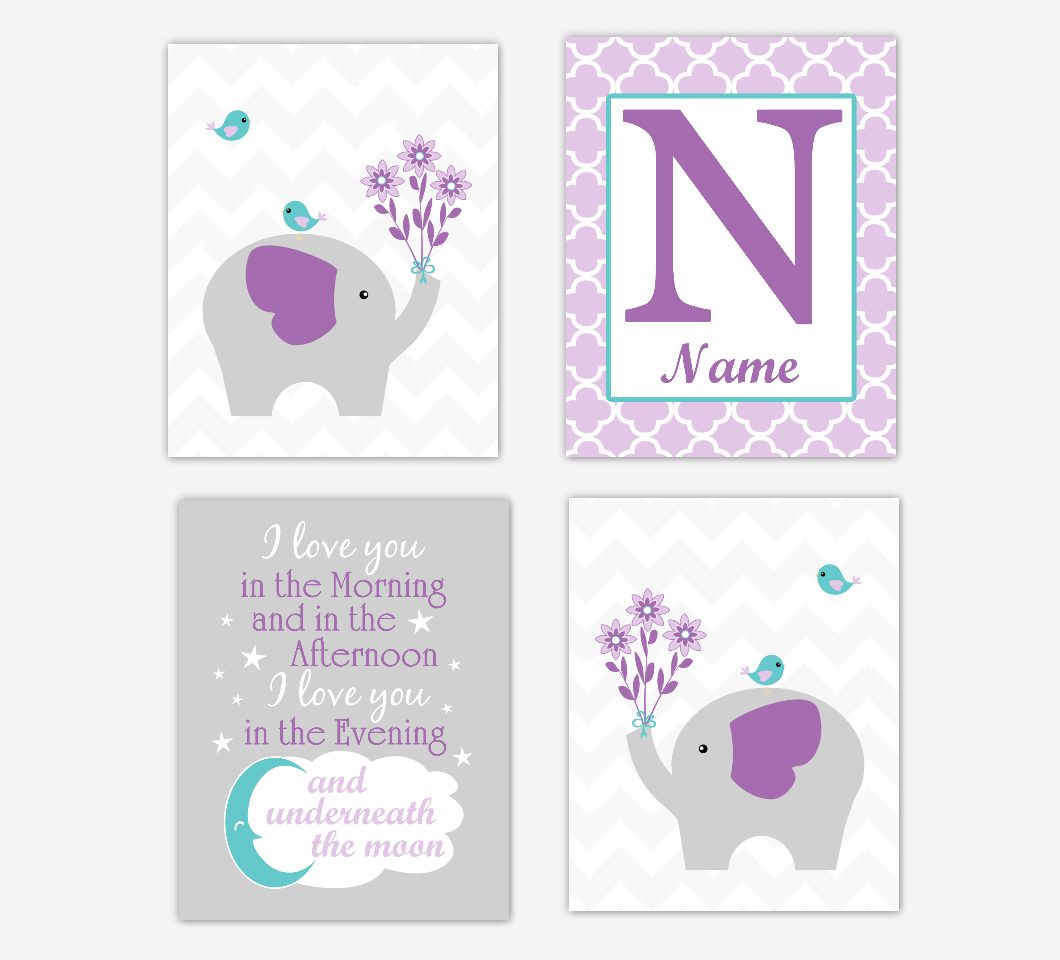 Nursery Prints Girl Baby Girl Nursery Wall Art Elephants Safari Animals Purple Teal Art Prints Personalized Name Children Quotes Baby Nursery Decor Set Of 4 Unframed