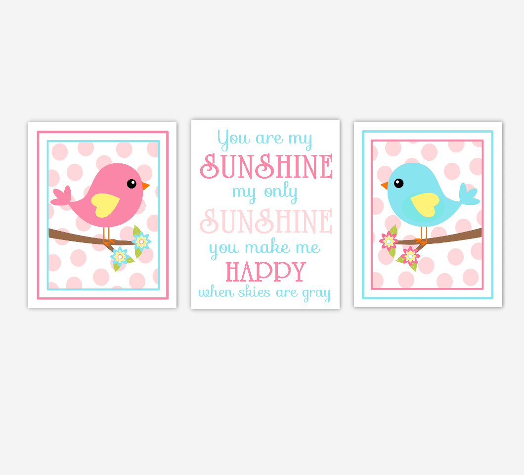 Nursery Prints Girl Baby Girl Nursery Wall Art Birds Pink You Are My Sunshine Nursery Song Lyrics Baby Nursery Decorset Of 3 Unframed Prints
